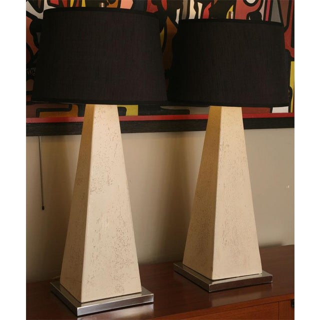 1970s Hollywood Regency Obelisk Table Lamps - a Pair ( No Shades). For Sale - Image 12 of 12