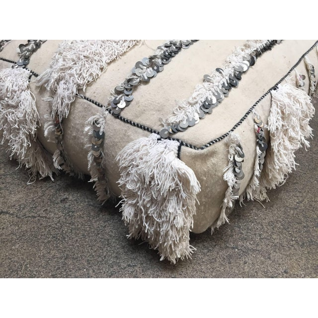 White Moroccan Wedding Floor Pillow Pouf with Silver Sequins and Long Fringes For Sale - Image 8 of 10