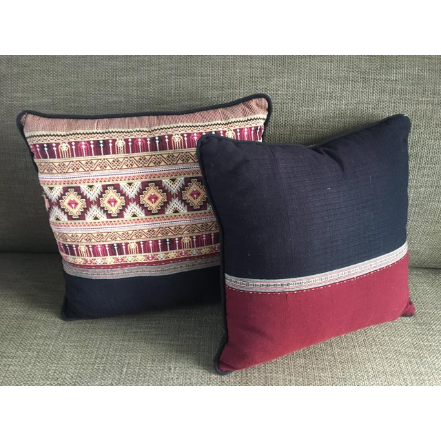 Boho Chic Traditional Arabic Embroidered Pillow Set - a Pair For Sale - Image 3 of 4