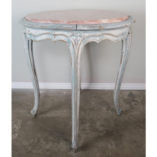 French Pair of Painted French Louis XV Style Tables W/ Marble Tops For Sale - Image 3 of 10