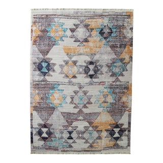 Faded Southwestern Kilim Patterned Tribal Cotton Rug - 4'x6' For Sale