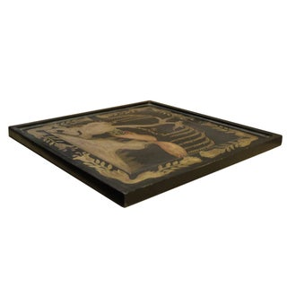 Hand Painted Golden Graphic Black Lacquer Square Display Disc Plate Tray Preview