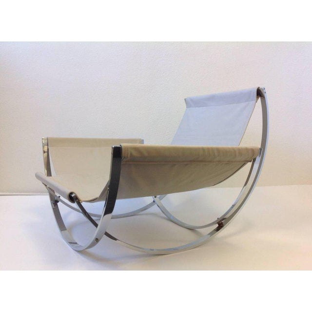 White Italian Polish Stainless Steel and Leather Lounge Chair and Ottoman by Leonart Bender for Charlton Co. For Sale - Image 8 of 13