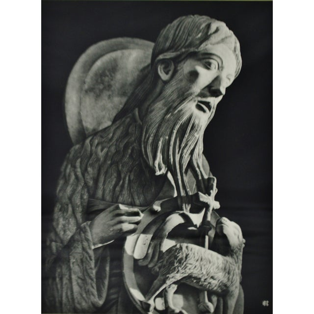 Religious Vintage Framed Black and White Religious Print Jesus and Lamb For Sale - Image 3 of 8