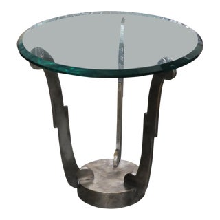 Art Deco Glass Top Side Table For Sale