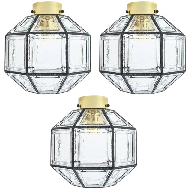 Set of Three Clear Glass Lantern Flush Mounts Lamps by Limburg For Sale