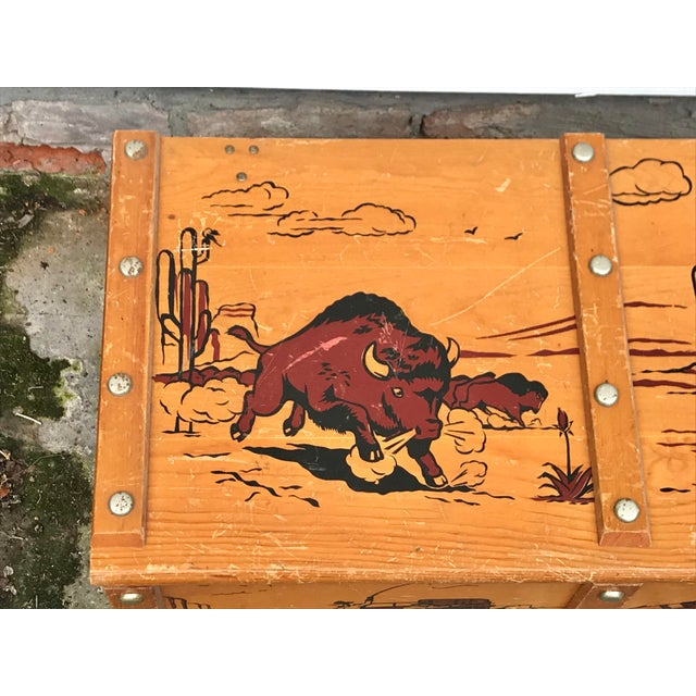 1950s Vintage Cowboys and Indians Wooden Toy Chest For Sale In New Orleans - Image 6 of 13