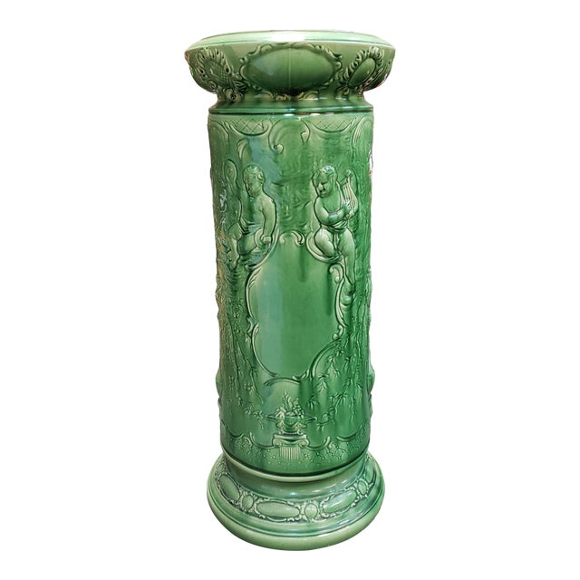 Circa 1890 French Majolica Porcelain Raised Relief Putti and Floral Motif Pedestal For Sale