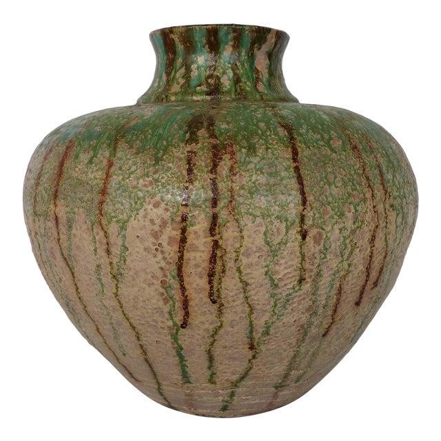 1970s Vintage Glaze Terracotta Pottery Vase For Sale