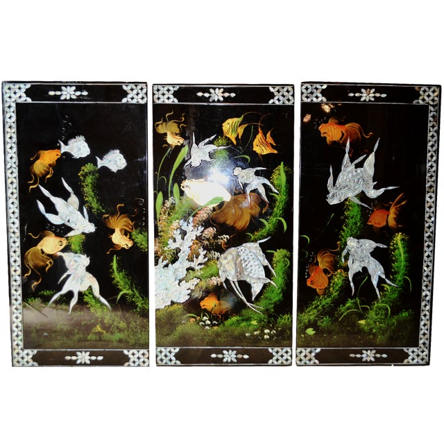 Chinoiserie Mother-of-Pearl Koi Triptych - Image 1 of 6