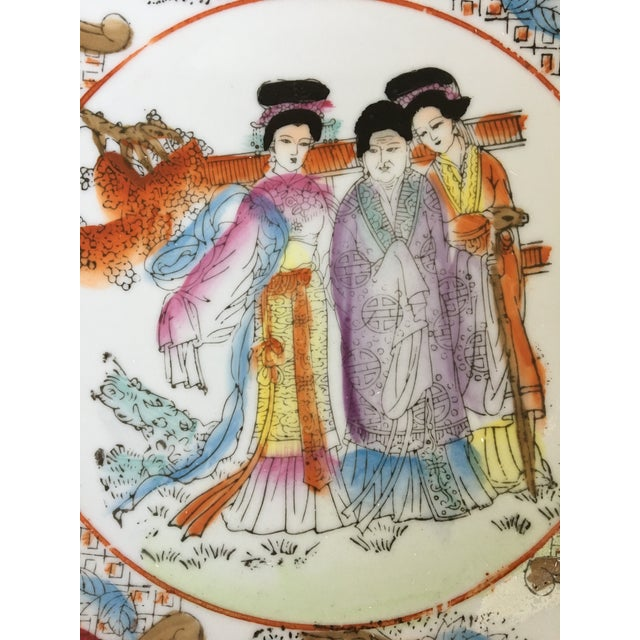 """Mid 20th Century Decorative Chinoiserie Gold Rimmed """"Three Ladies"""" Plate For Sale - Image 5 of 10"""