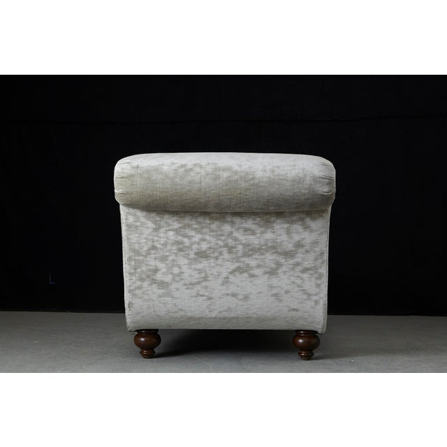 French Chaise Longue With Striae Velvet New Upholstery, Circa 1930's For Sale - Image 4 of 13