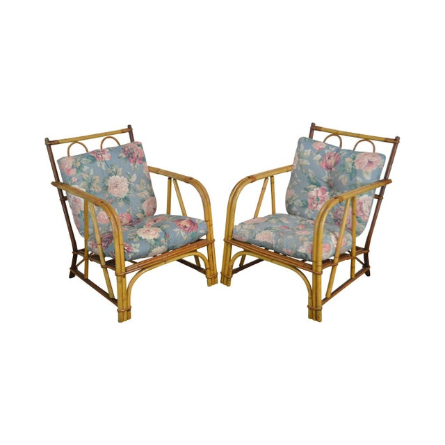 Ward Wicker Vintage Antique Pair of Split Reed Rattan Lounge Chairs For Sale - Image 13 of 13