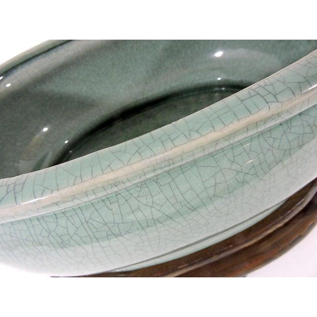 Celadon Vintage Asian Crackleware Oval Celadon Green Planter on Custom Wood Stand For Sale - Image 8 of 12