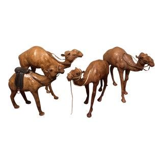 Leather Camel Figures - Set of 4 For Sale