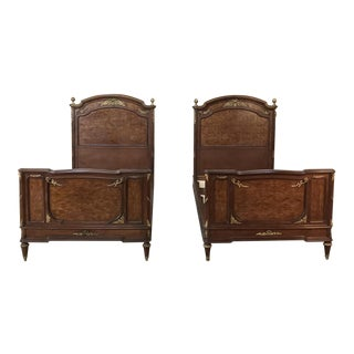 Pair 19th Century Louis XVI Bronze Mounted Mahogany Beds by Schmit of Paris For Sale