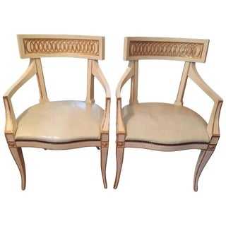 20th Century Vintage Baker Furniture Neoclassical Style Armchairs- a Pair For Sale