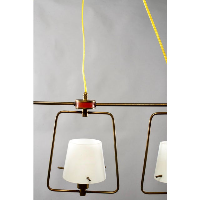 Mid Century Stilnovo Chandelier With Frosted Glass Shades For Sale In Detroit - Image 6 of 12