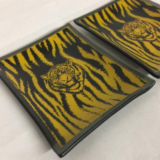 Mid-Century Glass Tiger Ashtray Set/2 - Image 4 of 6