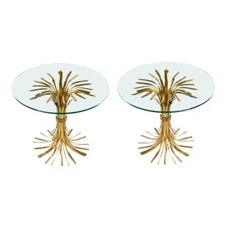 1960s Hollywood Regency Sheaf of Wheat Side Tables - a Pair For Sale