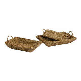 Seagrass Trays With Handles from Kenneth Ludwig Chicago - Set of 3 For Sale