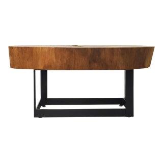 Vinhatico Crosscut Wood & Metal Coffee Table – 01 For Sale