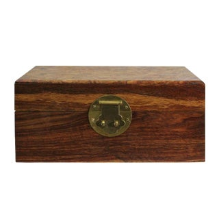 Chinese Small Brown Burl Wood Rectangular Storage Box Chest For Sale
