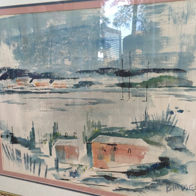 Mid Century Modern Alfred Birdsey Abstract Modernist Ocean Seascape Watercolor Painting Signed - Image 9 of 11