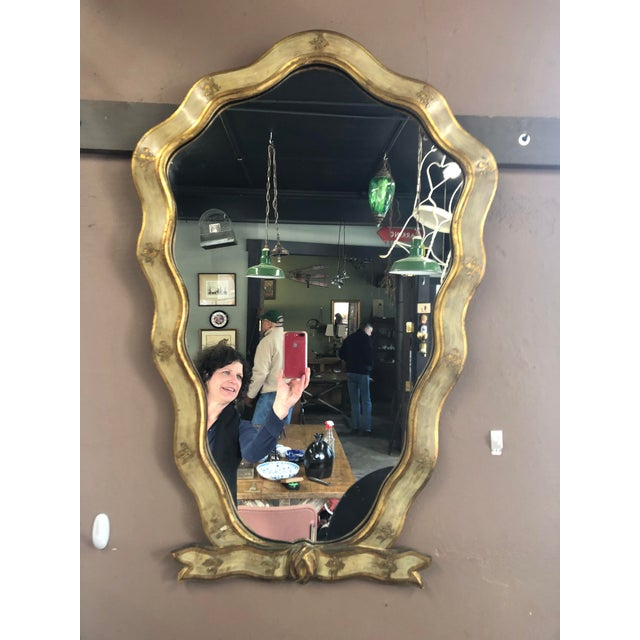 Mid 20th Century Italian Hand-Painted Gilded Ribbon Motif, Gold Leaf Wood Mirror For Sale In New York - Image 6 of 6