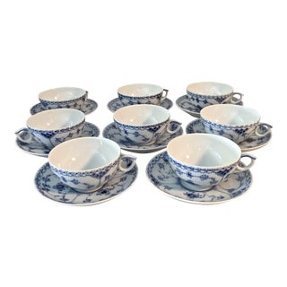1970s Royal Copenhagen Flat Cups and Saucers - Set of 8 For Sale
