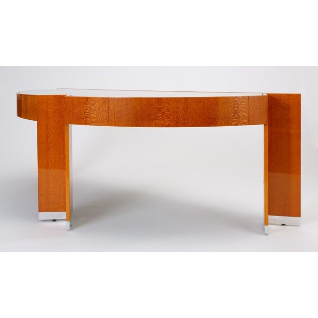 """Mid-Century Modern Custom Lacewood """"Mezzaluna"""" Desk by Pace Collection For Sale - Image 3 of 13"""