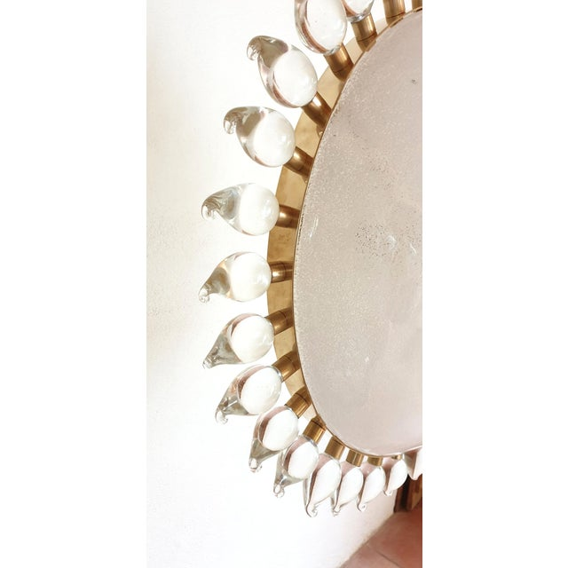 White Large Mid-Century Modern Sunflower Murano Glass & Brass Chandelier, Cenedese For Sale - Image 8 of 12
