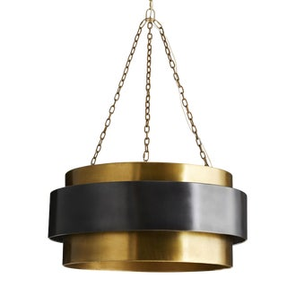 Arteriors Large Black and Vintage Brass Nolan Chandelier For Sale