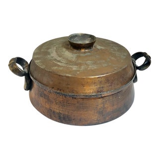 Hand Hammered Antique Copper / Tin Pot With Large Brass Handles For Sale