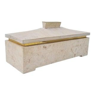 XL Maitland -Smith Tessellate Stone Rattan and Brass Decorative Box For Sale