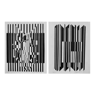 Pop Artist Victor Vasarely Black and White Optical Prints For Sale