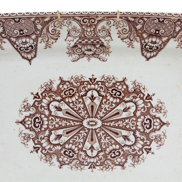 """!4"""" L x 10"""" D x 1.5"""" H 19th Century ironstone clay serving platter developed in England as an alternative to porcelain..."""