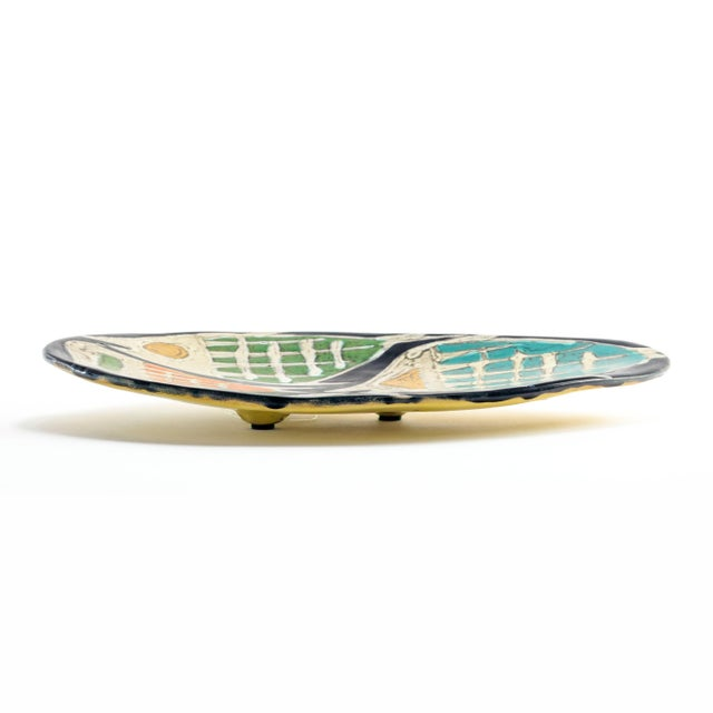Livia Gorka Mid-Century Art Pottery Plate or Dish Decorated With Four Fish For Sale - Image 4 of 7