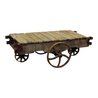 Antique Factory Cart With Varied Size Wheels For Sale