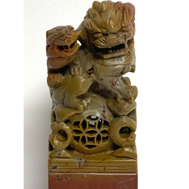 Chinese Large Chinese Export Carved Soapstone Foo Dog Scholars Seal For Sale - Image 3 of 12