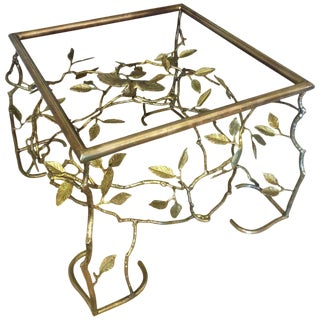 Italian Brass Organic Tree and Bird Cocktail Table