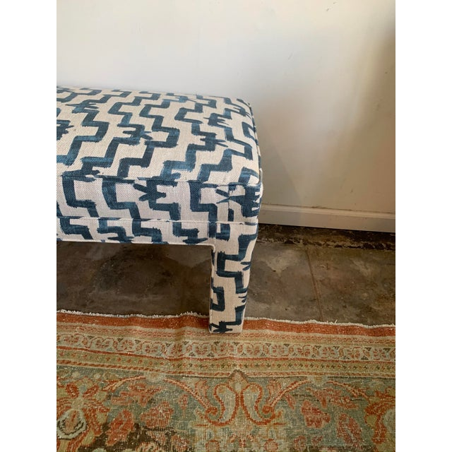 1970s Vintage Parsons Style Upholstered Bench For Sale - Image 4 of 6
