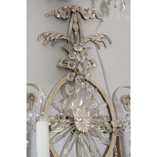 Traditional Pair of 19th Century Silver Leaf and Crystal Sconces For Sale - Image 3 of 7