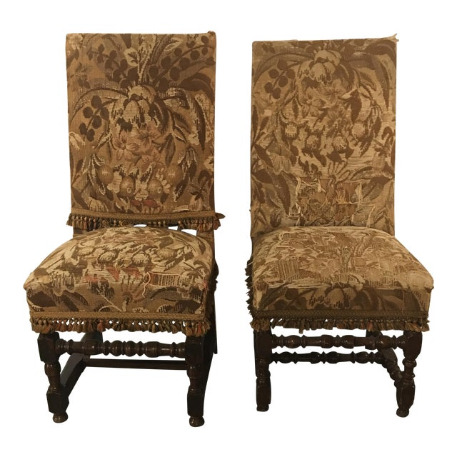 Antique Louis XVIII Period Side Chairs With 19th Century Upholstery - a Pair For Sale