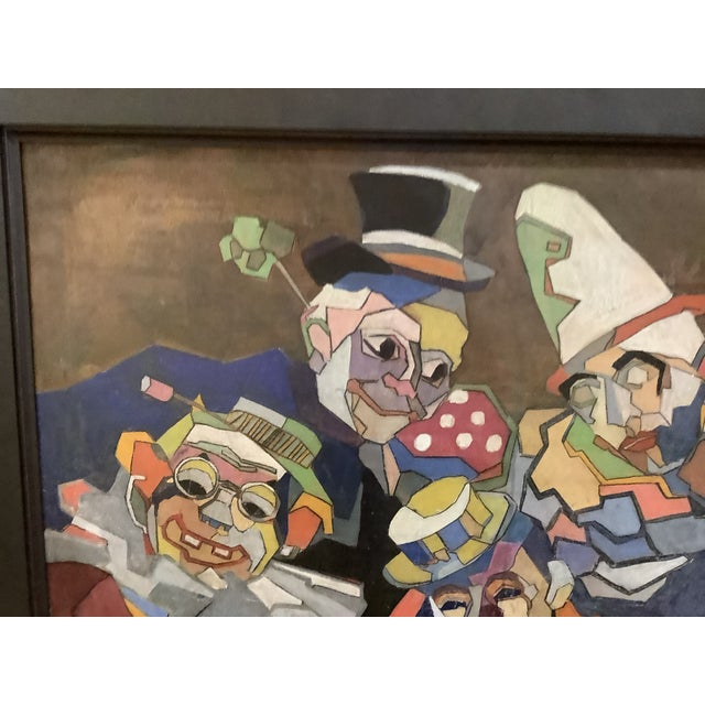 1950s Midcentury Cubist Style / Folk Art Clown Painting For Sale - Image 5 of 12