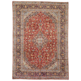 20th Century Persian Kashan Area Rug - 9′9″ × 13′8″ For Sale