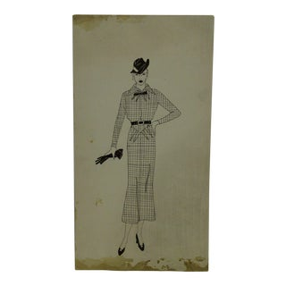 """1930s Mid-Century Modern Fashion Sketch/Drawing, """"Checker Board Design With Belt"""" For Sale"""
