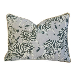 "Safari Running Zebras Linen & Velvet Feather/Down Pillow 24"" X 18"" For Sale"