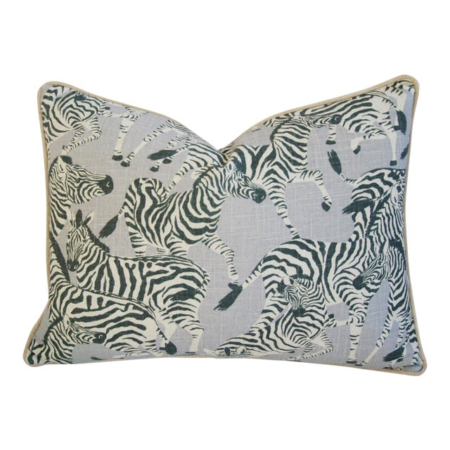 """Safari Running Zebras Linen & Velvet Feather/Down Pillow 24"""" X 18"""" For Sale"""