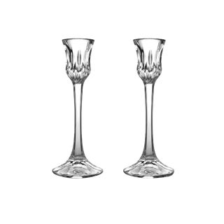 Tall Single Light Althea Cut Gorham Full Lead Crystal Candle Holders - a Pair For Sale